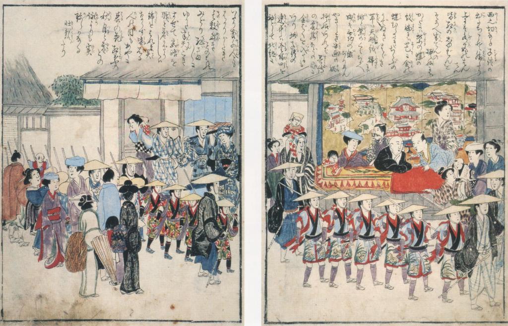 Фестиваль в Сакураи, гравюра 1825 года